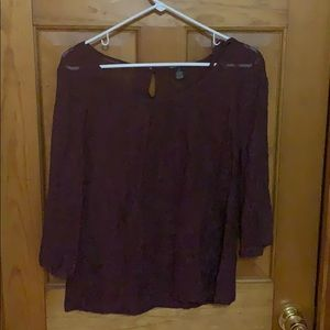Lucky Brand Burgundy Lace Top